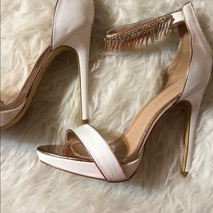 White heels with gold and rose gold accents
